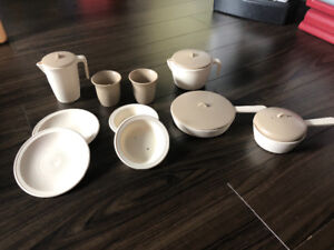 Kids play kitchen cookware and dishes