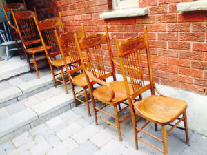 6 solid oak dining room chairs, pressed back