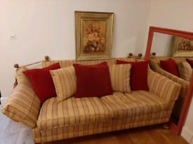 Handmade duresta trafalgar hornblower sofa drop arm knoll stripe yello