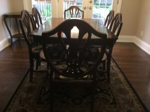Mahogany Dining Table (2 leaves), 6 Chairs, Buffet & China Cabin
