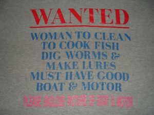 "WANTED, ENCLOSE PICTURE OF BOAT & MOTOR T-SHIRT, ""L"""