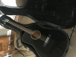 Black Fender Acoustic Guitar and Hard Case