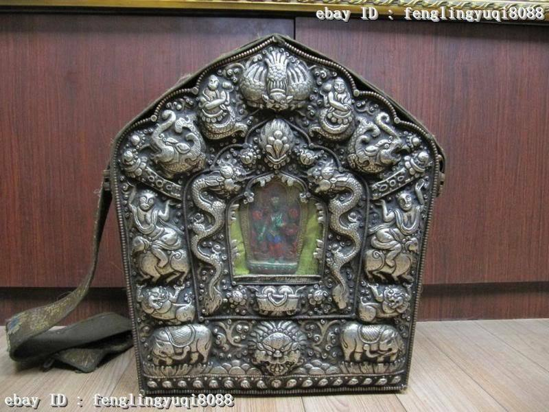 Tibet Buddhism Silver Lucky Dragon Buddha Shrine Tangka Shrines statue