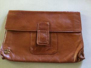 "Vintage tan ""Normandie"" leather clutch purse - envelope style"