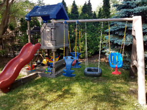 Kids swing and slide play house