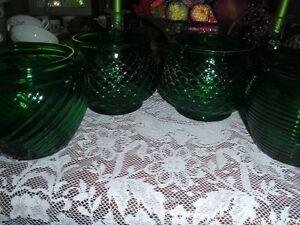 E.O Brody Green Glass Flower Pot