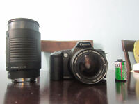 Canon EOS 3000 Film Camera + 28-80mm and Sigma 75-300mm Lenses