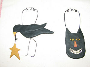 Halloween Resin Primitive Ornaments, Crow w/ Star, Grinning Cat