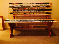 Hockey Stick bench with Messier, Bourque etc game used (lowered)