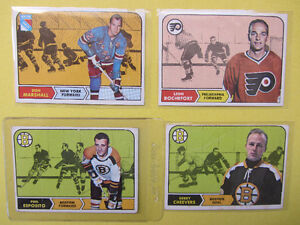 7 1968-69 hockey cards: Phil Esposito, Gerry Cheevers, Mikita