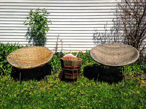 1950s Woven Wicker and Iron Bucket Chairs West Island Greater Montréal image 1