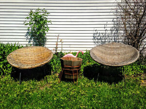 1950s Woven Wicker and Iron Bucket Chairs