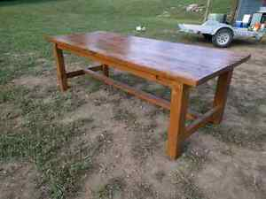 Big harvest style table. Extremely solid, handmade. Peterborough Peterborough Area image 1
