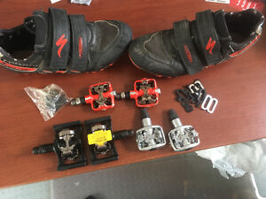 1 Pair 10 1/2 Specialized Comp Shoes and 3 Pair Peddles & Clips