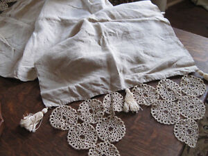 Beautiful Rustic Antique Linen Table Runner,Tassels, Embroidery