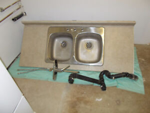 Kitchen Counter Tops, Double Sink and Taps