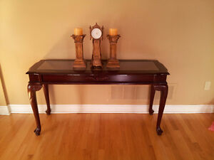 Solid wooden carved glass top console hallway table