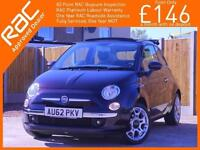 2012 Fiat 500 1.2 Lounge 5 Speed Start Stop Convertible Climate Control Bluetoot