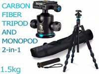 Carbon Fiber Travel Tripod Monopod 2-in-1 - Light & Compact with 360 Ball Head - Only 1.5kg