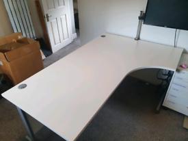 White crescent office desk