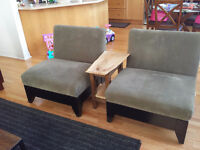2 Suede Extra Wide Kiln Wood Sitting Chairs
