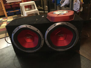 "2 Sony explode 12"" subs IN carpet BOX, xPLOD Amp & Head unit."