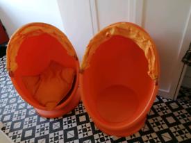 2 ikea kids egg chairs orange swivel