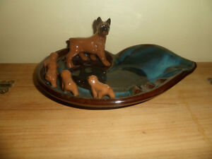 Bulldog And 4 pups Ashtray