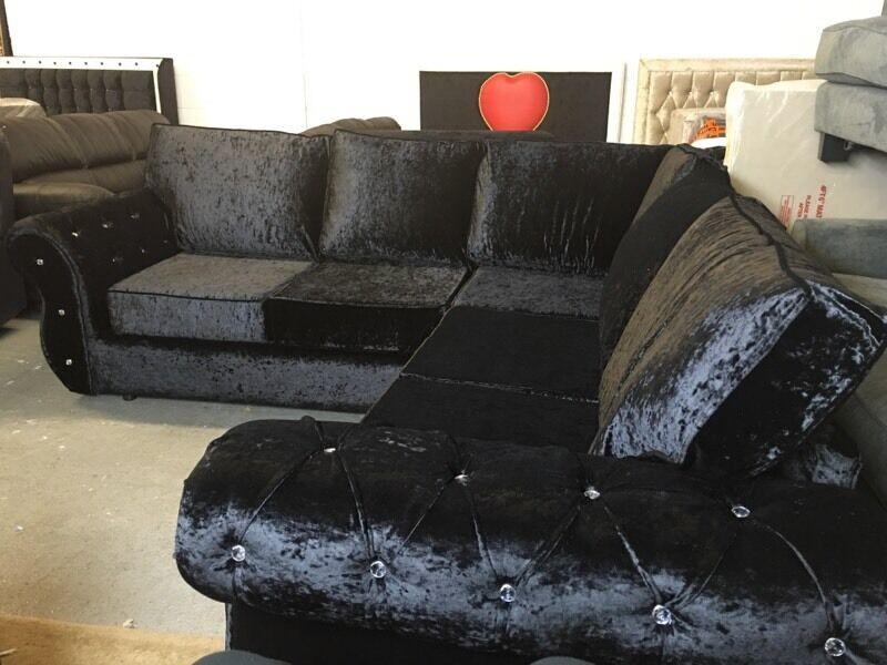 Black Crushed Velvet Corner Sofa Diamanté Chesterfield Diamond Full Formal  Back Piping