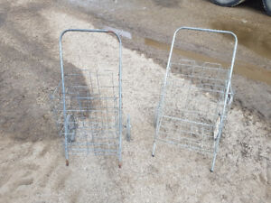 Pair of vintage fold up shopping carts