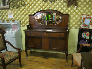 Unique Early Sideboard Buffet w/ Mirror London Ontario image 3