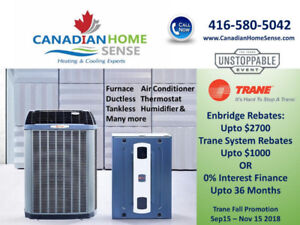 Furnace Air Conditioner Tankless Ductless upto 36 Months 0%