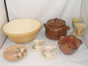 Pottery Lot Gripstand Bowl Candle Sticks Wine Glasses More