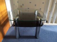 Pair 2 Tier Glass Lamp/Coffee Table