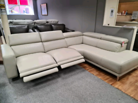 New Genuine Leather corner sofa power recliner left or right hand