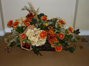 "Floral Arrangement in Wicker Basket : As shown : 27"" W x 17"" H"