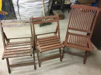 3 Wooden Garden Folding Chairs - Upcycle/Paint Up