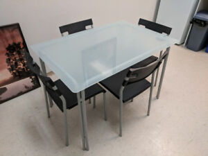 Glass Ikea Kitchen Table and 4 Chairs