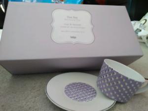 Brand new tea cup & saucer set indigo