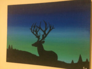 2 Amazing Paintings of Deers at Night Hand Painted!!