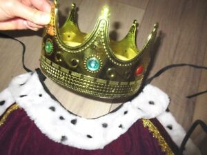 Adult/Youth Royal Velvet Robe Cape & Jewelled Crown