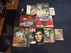 12 VARIOUS ELVIS  ITEMS PACKAGE DEAL:4TINS,4MAGS,2 BOOKS,PUZZLE