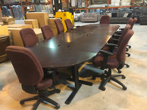 15' Boardroom Table w/ 10 Chairs. Cherry w/ Electronics Trays