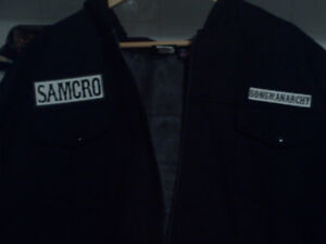 XXXL  Mens Real Sons of Anarchy Black  jacket with real crest