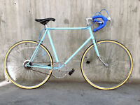 Strong & fast large light blue single speed city commuter