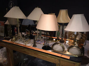 A Dozen Table/Desk, Sconce, and Ceiling Lamps