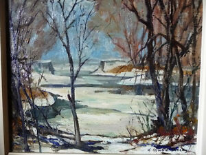 "Original Oil Painting, H. Oswald Stacey  OCA ""January Thaw"" 1945"