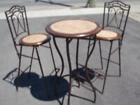 solid wood and wrought iron bistro set
