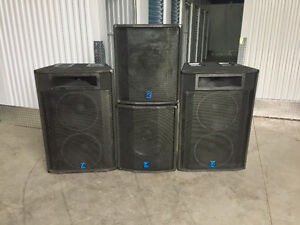 Large Powerful Yorkville PA pasive speakers.