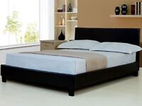 BRAND NEW -- Kingsize Leather Bed with 9inch Semi Orthopaedic Mattress- SINGLE BED - DOUBLE BED